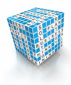 Crossword puzzle cube with business words, 3d render