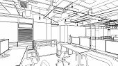 pic of interior sketch  - drawing outline sketch of a interior space - JPG