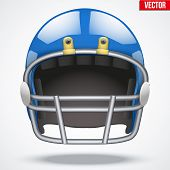 Realistic Blue American football helmet. Front view. Vector