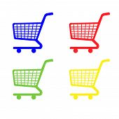 Shopping Cart Icons In Blue Red Green Yellow