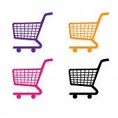 Shopping Cart Icons In Purple Orange Pink Black