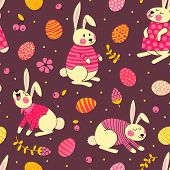 Happy Easter seamless pattern with cute bunnies and eggs.