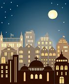 stock photo of moonlight  - Sityscape in the dark sky and moonlight - JPG