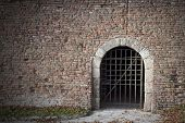 foto of dungeon  - Old Red Brick Wall Background Medieval Dungeon - JPG