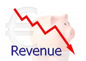 Red Diagram Downwards Revenue With Piggy Bank Euro Symbol