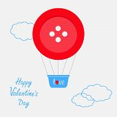 Hot Air Balloon Made Of Big Red Button Dash Line Clouds Flat Design Happy Valentines Day Card