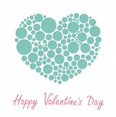 Blue Heart Made From Many Round Dots Love Card Flat Design Happy Valentines Day