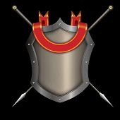 Silver Riveted Shield With Red Ribbon And Two Spears.