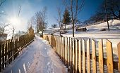 Narrow road covered by snow at countryside. Winter landscape with snowed trees, road and fence