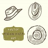 pic of panama hat  - Set of hand drawn sketchy straw hats - JPG