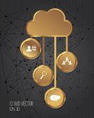 Gold cloud concept, vector
