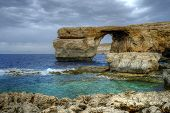 picture of gozo  - The Azure window, a natural limestone arch, on the Maltese 