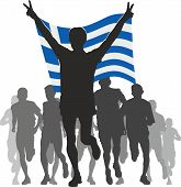 Athlete with the Greece flag at the finish