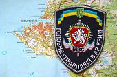 Kiev,Ukraine.JAN 10.Illustrative editorial.Chevron of Ukrainian Police in Crimea region. Former Ukraine.At present time Russia.With map of Sevastopol .At January 10,2015 in Kiev, Ukraine