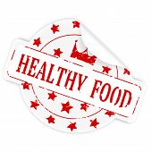Sticker With The Words Healthy Food