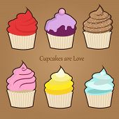 Set of six cute colorful stylized cupcakes with frosting, icing and sprinkles