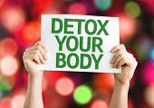 Detox Your Body card with colorful background with defocused lights