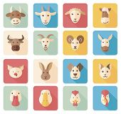 picture of cattle dog  - Farm animals flat icons with long shadow - JPG