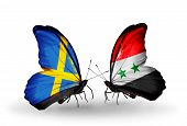 Two Butterflies With Flags On Wings As Symbol Of Relations Sweden And Syria