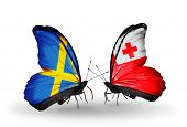 Two Butterflies With Flags On Wings As Symbol Of Relations Sweden And Tonga