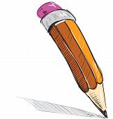 Pencil sketch cartoon vector illustration