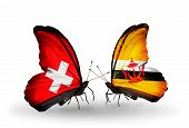 Two Butterflies With Flags On Wings As Symbol Of Relations Switzerland And Brunei