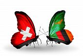 Two Butterflies With Flags On Wings As Symbol Of Relations Switzerland And Zambia