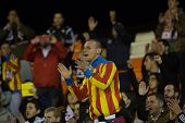 VALENCIA, SPAIN - JANUARY 4: Valencia supporter during Spanish King Cup match between Valencia CF and RCD Espanyol at Mestalla Stadium on January 4, 2015 in Valencia, Spain