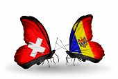 Two Butterflies With Flags On Wings As Symbol Of Relations Switzerland And Moldova