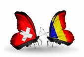 Two Butterflies With Flags On Wings As Symbol Of Relations Switzerland And Chad, Romania