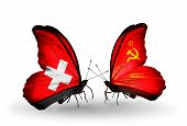 Two Butterflies With Flags On Wings As Symbol Of Relations Switzerland And Soviet Union