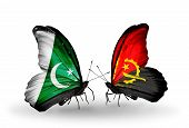 Two Butterflies With Flags On Wings As Symbol Of Relations Pakistan And Angola