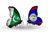 Two Butterflies With Flags On Wings As Symbol Of Relations Pakistan And Belize