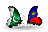 Two Butterflies With Flags On Wings As Symbol Of Relations Pakistan And Liechtenstein