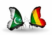 Two Butterflies With Flags On Wings As Symbol Of Relations Pakistan And Mali