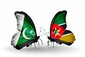 Two Butterflies With Flags On Wings As Symbol Of Relations Pakistan And Mozambique