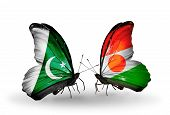 Two Butterflies With Flags On Wings As Symbol Of Relations Pakistan And Niger