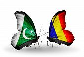 Two Butterflies With Flags On Wings As Symbol Of Relations Pakistan And Chad, Romania