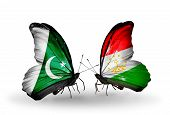 Two Butterflies With Flags On Wings As Symbol Of Relations Pakistan And Tajikistan