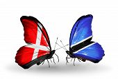Two Butterflies With Flags On Wings As Symbol Of Relations Denmark And Botswana