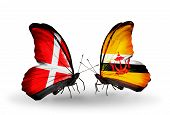 Two Butterflies With Flags On Wings As Symbol Of Relations Denmark And Brunei
