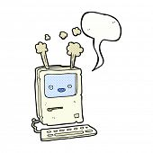 cartoon old computer with speech bubble