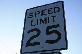 stock photo of mph  - Sign posting the maximum speed limit - JPG
