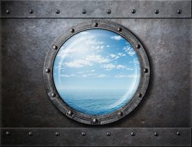 foto of ironclad  - old ship rusty porthole or window with sea and horizon behind - JPG