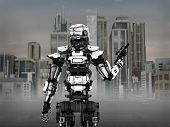 stock photo of guns  - Image of a futuristic robot soldier holding gun standing in front of a science fiction inspired city - JPG