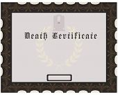 stock photo of tombstone  - Certificate of death with tombstones vintage design - JPG