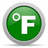 picture of fahrenheit thermometer  - fahrenheit green glossy web icon - JPG