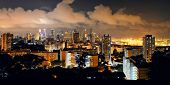 picture of singapore night  - Singapore skyline viewed from mt faber at night with urban buildings - JPG