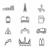 stock photo of petroleum  - Natural gas line icons set - JPG