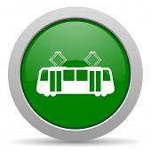 pic of tram  - tram green glossy web icon - JPG